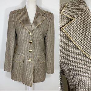 VINTAGE wool tweed gold stud blazer jacket